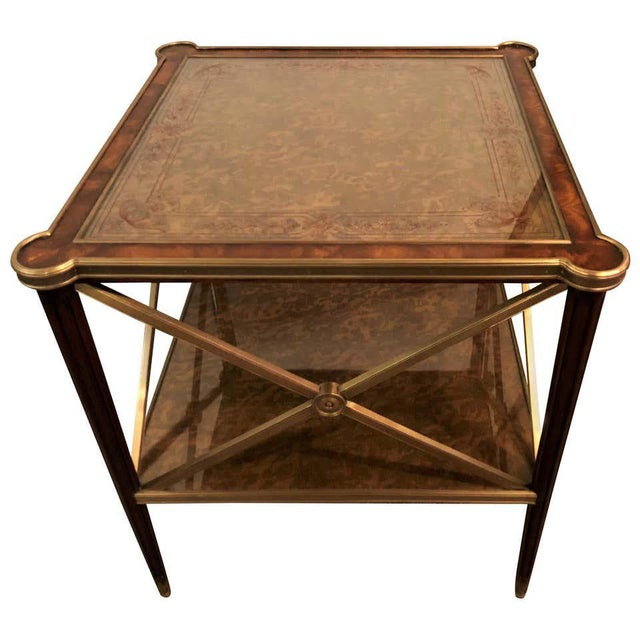 Hollywood Regency Bronze Decorated End Table X-Base Sides Tortoise Glass Top For Sale - Image 11 of 11