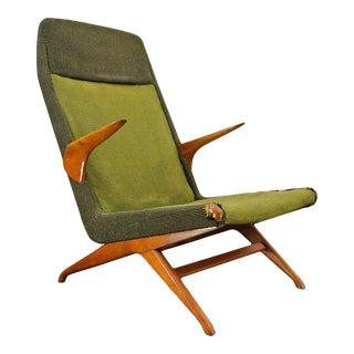 Danish Modern Highback Lounge Chair in Green Wool