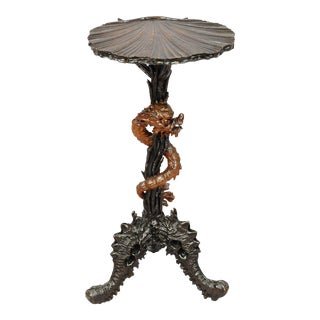 Antique Carved Wooden Dragon Side Table After Gabriel Viardot For Sale