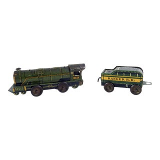 Tiny 1940's Wind Up Tin Ranger Railroad Engine & Car - a Pair For Sale