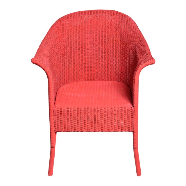 Vintage Coral Wicker Chair For Sale