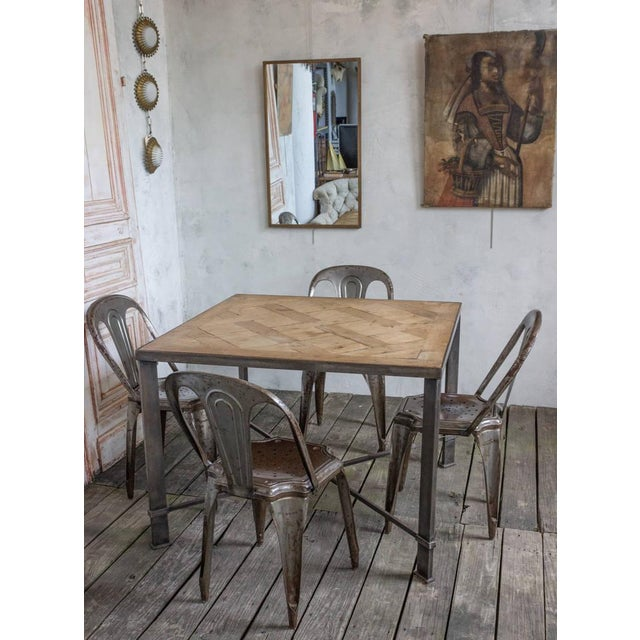Brown French Iron Table With 19th Century Wood Top For Sale - Image 8 of 9