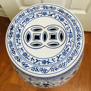 1950s Vintage Chinese Blue & White Porcelain Garden Stool Preview