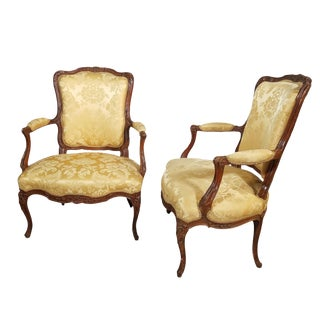 Late 19th Century Louis XV Walnut Arm Chairs- A Pair For Sale