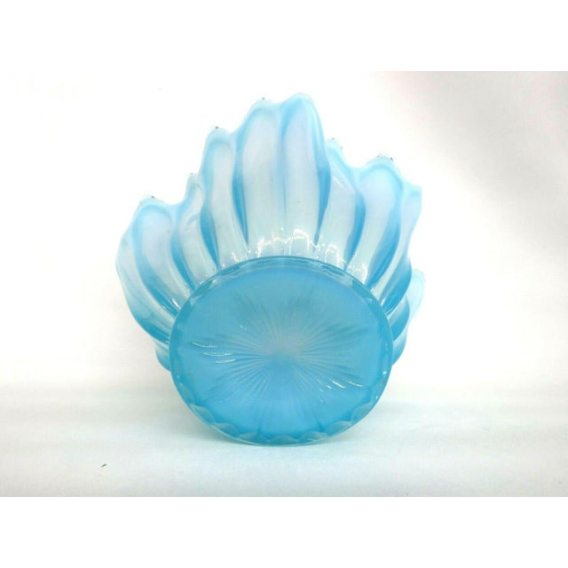 Fostoria Heirloom Style Blue Opalescent Glass Crimped Handkerchief Bowl For Sale - Image 9 of 11