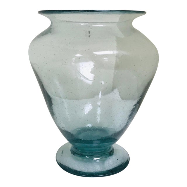 1970s Vintage Artisan Handcrafted Blown Glass Vase For Sale