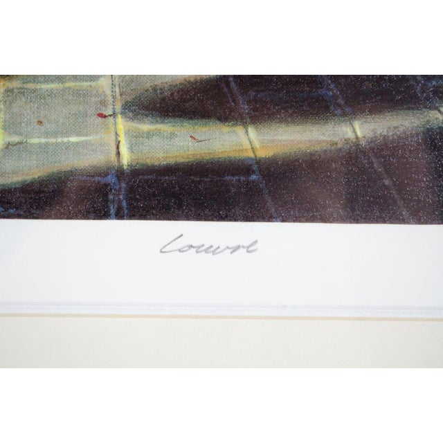 """Yellow 1990's Vintage """"Louvre"""" Edition 196/550 Seri-Lithograph by Louis Robichaud For Sale - Image 8 of 13"""