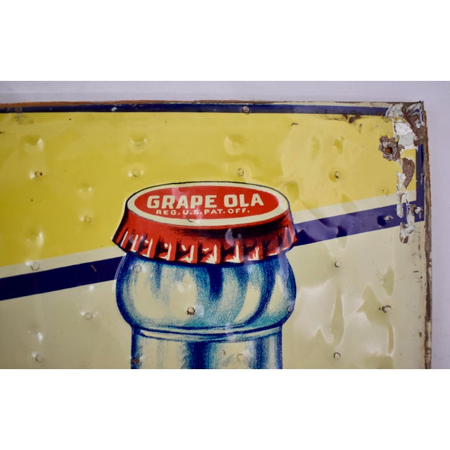 Quilted Tin Advertising Sign, Early 20th-C. Grape Ola Soda For Sale - Image 4 of 11