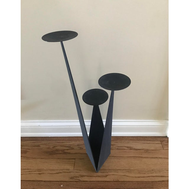 Paul Evans Paul Evans Style Brutalist Forged Iron Sculptural Geometric Floor Candle Pillar Holder For Sale - Image 4 of 8