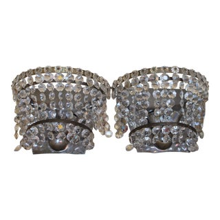 """1940's French Hollywood Regency Nickel & Crystal 'Fleur"""" Crystal Sconces - a Pair For Sale"""