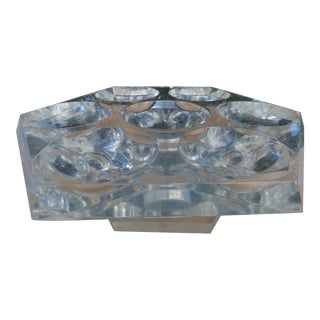 Mid Century Hexagonal Lucite Rotating Tray Lazy Susan Concave Serving Indentations 2415b For Sale