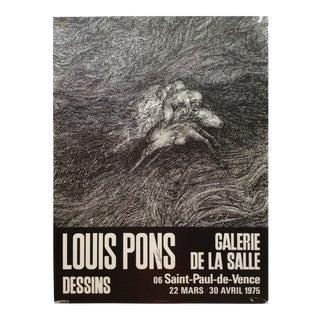 1970s Vintage Louis Pons Art Exhibition Poster For Sale