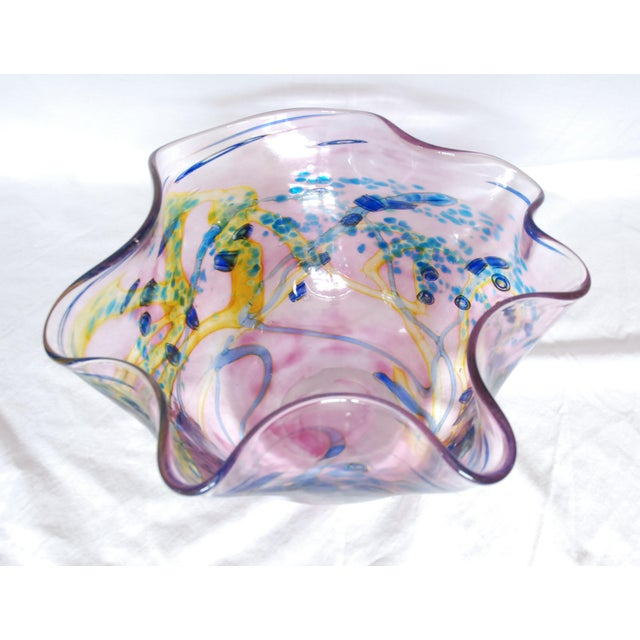2000s Large Multi Colored Blown Glass Art Bowl For Sale - Image 5 of 10