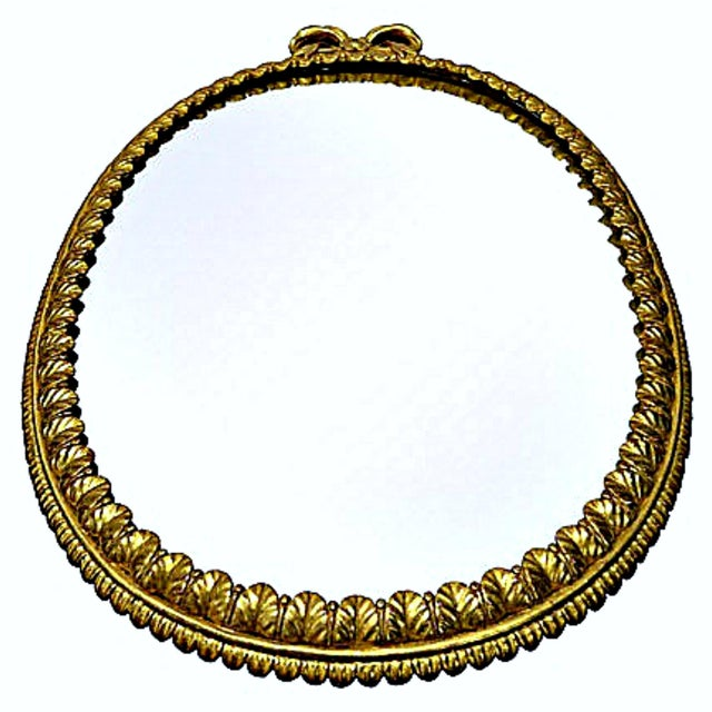 Italian Oval Italian Gilt Mirror with Bow For Sale - Image 3 of 12