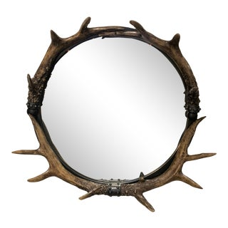 Round Stag Horn Antler Mirror For Sale