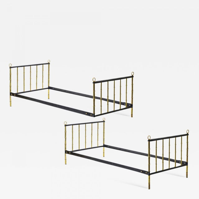 Jacques Adnet Stunning Pair Black Hand Stitched Good Vintage Condition Day Bed For Sale - Image 6 of 6