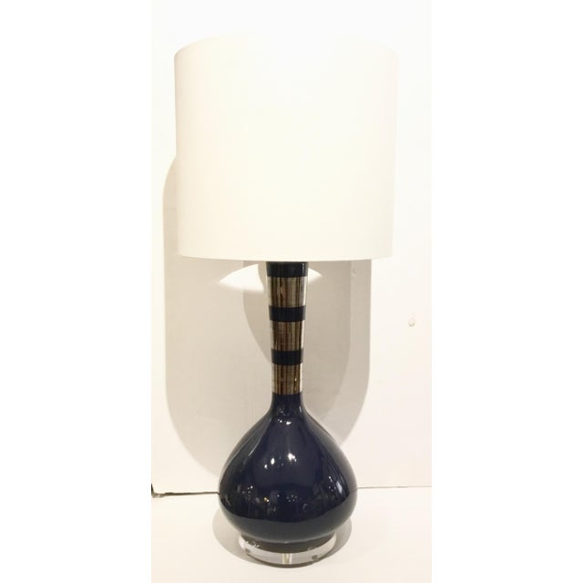 Stylish modern indigo blue and silver banded metallic glazed table lamps pair, ceramic, fabric shade, silver ball finial,...