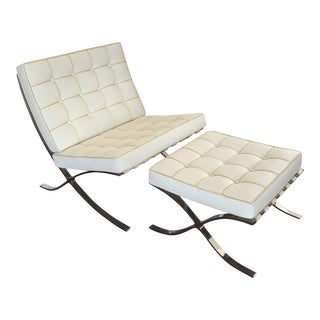 Mies Van Der Rohe Style Barcelona Chair & Ottoman For Sale