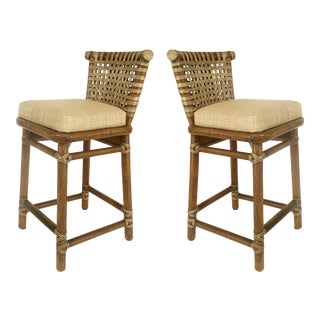 McGuire San Francisco Leather Bound Counter Stools With Raffia Seats - A Pair For Sale