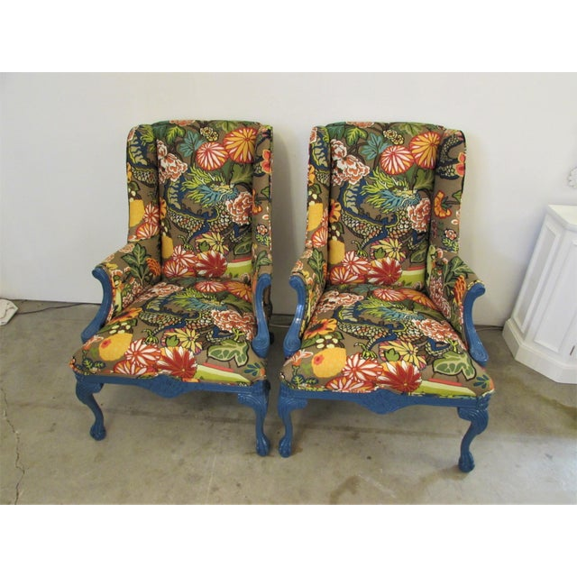 Pair of English Lacquered Georgian style Gainsborough armchairs. Having a high back, open swept arms and newly upholstered...