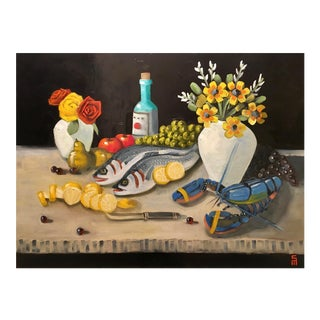 Stephen McDonough Contemporary Seafood Delight Original Oil Painting For Sale