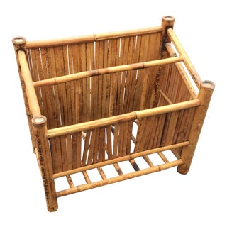 Vintage Tortoise Bamboo Magazine Holder Rack Caddy For Sale