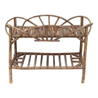 19th C Adirondack Willow & Rolled Bark Side Table For Sale