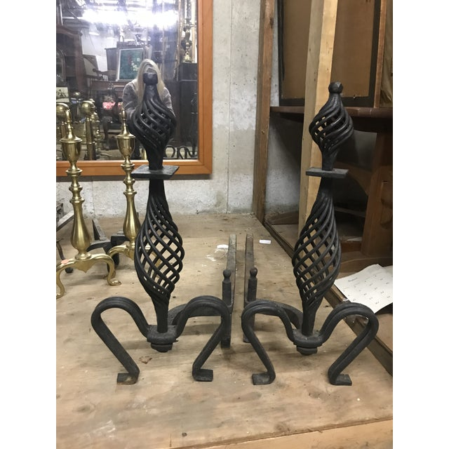 Black Cast Iron Spiral Andirons - a Pair For Sale - Image 4 of 4