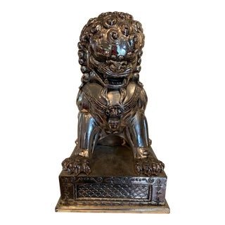 Silver Metal Foo Dog Statue For Sale