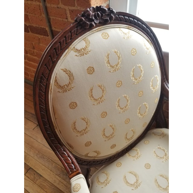 Cream Mid 20th Century Louis XVI Fauteuil For Sale - Image 8 of 9