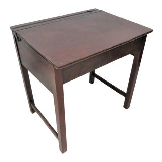 English Oak Lift Top Writing Desk With Inkwell Holder For Sale