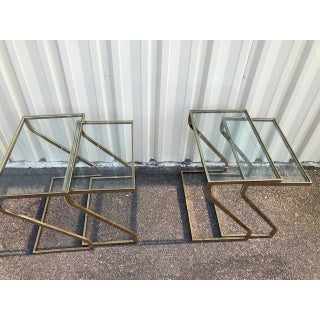 1980s Mid-Century Modern Design Institute America Brass & Glass Nesting Z Tables - Set of 4 Preview