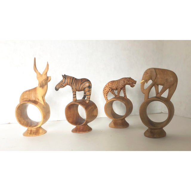 African Hand Carved Animal Napkin Rings- Set of 4 - Image 4 of 6