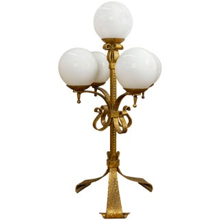 Spanish Gilt Iron Candelabra Lamp With Glass Globes For Sale
