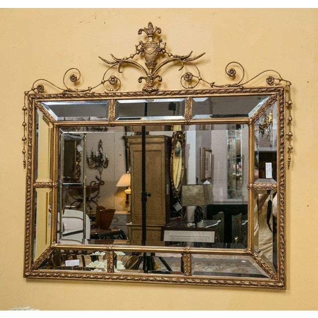 Neoclassical Adams Style Beveled Mirror in Finely Carved Frame For Sale - Image 3 of 11