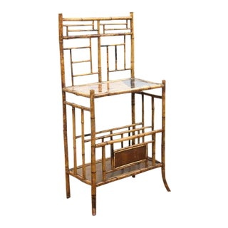 Late 19th Century Bamboo & Marquetry Canterbury Shelf For Sale