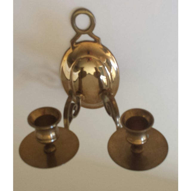 Mid 20th Century Vintage 2 Candle Brass Sconce For Sale - Image 5 of 9