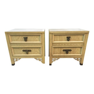 1970s Asian Modern Shangri La Nightstands- a Pair For Sale
