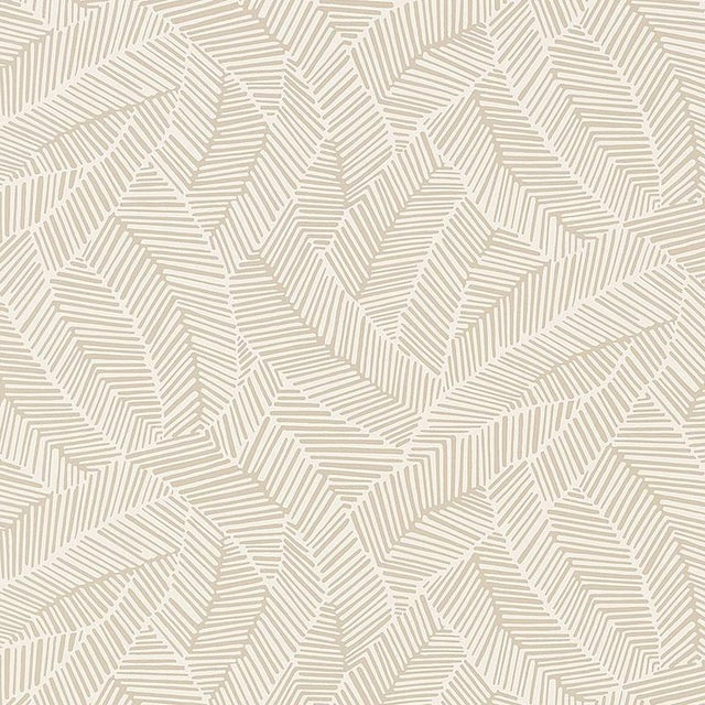 Abstract Schumacher Abstract Leaf Geometric Stripes Wallpaper in Linen Beige - 2-Roll Set (9 Yards) For Sale - Image 3 of 3