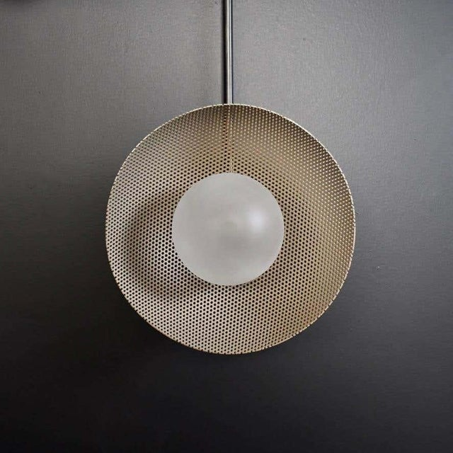 Metal Division Wall Sconce or Flushmount in Oil-Rubbed Bronze, Mesh & Blown Glass For Sale - Image 7 of 8