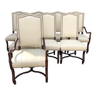 Fairfield Chair Company Leather Bartow Dining Chairs - Set of 8 For Sale