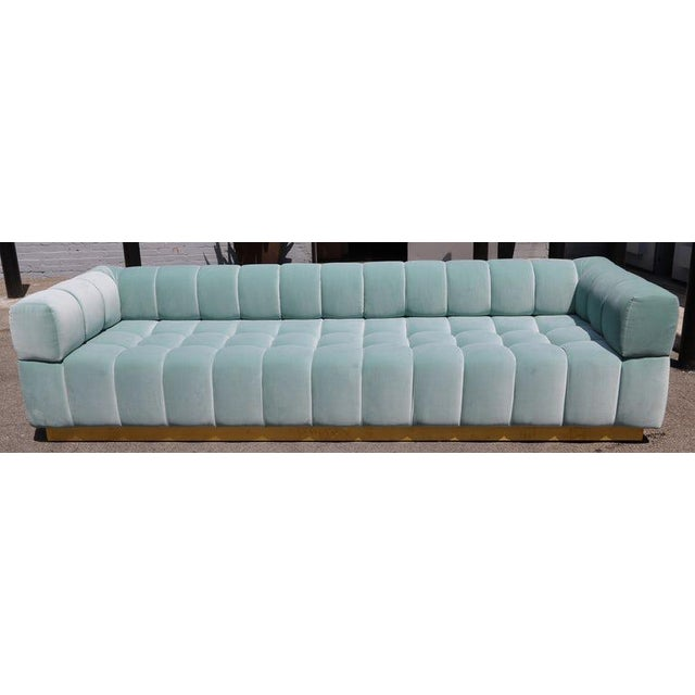 Adesso Imports Adesso Imports Custom Tufted Aqua Blue Velvet Sofa With Brass Base For Sale - Image 4 of 7
