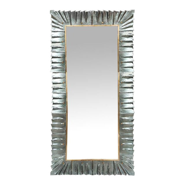 Large Modern Aqua Green Murano Glass Framed Mirror For Sale