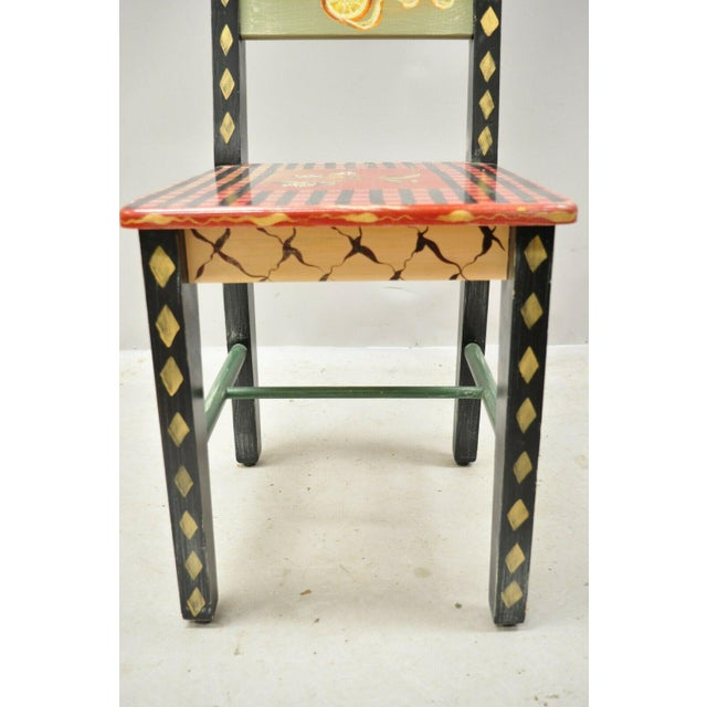 Late 20th Century French Country Style Handpainted Fruit Bird Butterfly Side Chair For Sale In Philadelphia - Image 6 of 11
