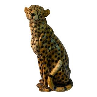 Hand Painted Cheetah Sculpture in Fiberglass Resin For Sale