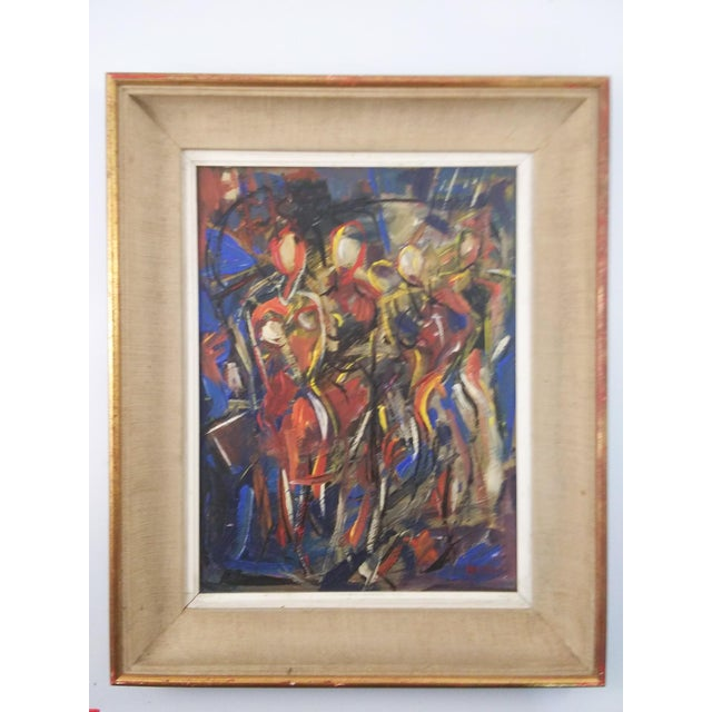 Blue Vintage Mid-Century Portrait of Four Females Painting For Sale - Image 8 of 8