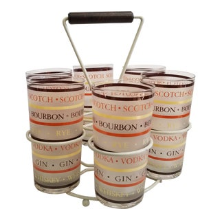 1970s Highball Glasses Barware Set - 6 Glasses and Caddy For Sale