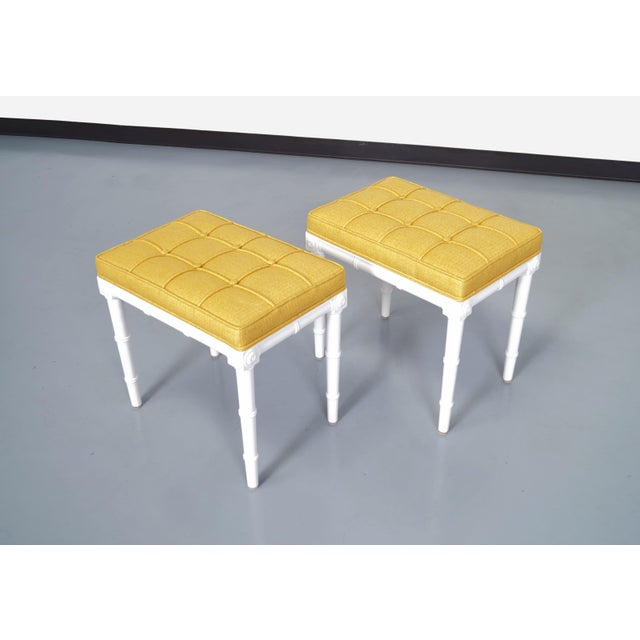 1970s Vintage Faux Bamboo Stools For Sale - Image 5 of 9