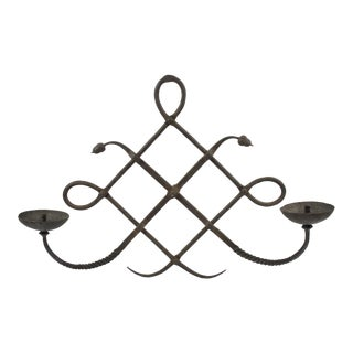 Italian Modarchitectura Wrought Iron Wall Candleholder Sconce For Sale