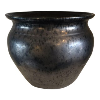 Large Gunmetal Reactive Glaze Ceramic Planter